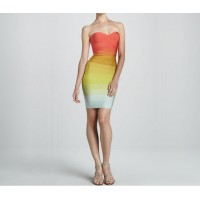 Slim Fit Strapless Color Block Crossing Sleeveless Bandage Dress For Women