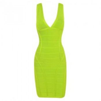 Slim Fit V-Neck Backless Zipper Up Sleeveless Bandage Dress For Women