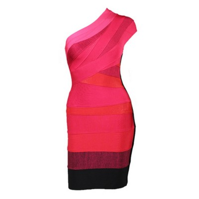 Sloping Shoulder Noble Style Color Block Polyester Bandage Dress For Women