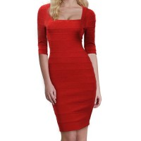Solid Color Casual Square Neck 1/2 Sleeve Packet Buttock Bandage Dress For Women