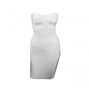 Solid Color Low-Cut Sleeveless Polyester Sexy Style Bandage Dress For Women