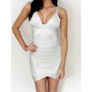 Solid Color Sexy V-Neck Backless Packet Buttock Bandage Dress For Women