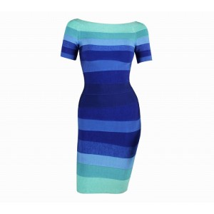 Stripe Color Block Noble Style Cotton Blend Short Sleeves Bandage Dress For Women
