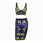 Stylish Plunging Neck Abstract Print Crop Top + Bandage Skirt Suits For Women