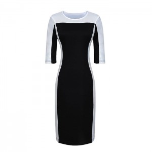 Stylish Round Collar Color Block Half Sleeve Bodycon Dress For Women