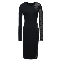 Stylish Round Collar Polka Dots Lace Splicing Long Sleeves Black Bodycon Dress For Women