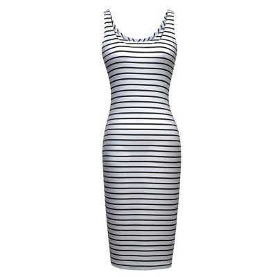 Stylish Scoop Neck Striped Design Sleeveless Bodycon Dress For Women
