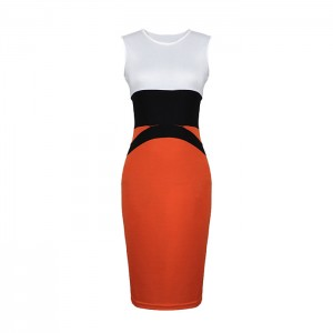 Stylish Style Round Collar Color Splicing Sleeveless Bodycon Knit Bandage Dress For Women
