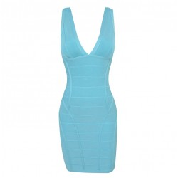Zipper Backless Beam Waist Packet Buttock Rayon Solid Color Bandage Dress For Women