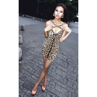 Alluring Low-Cut Chain Decorated Backless Mini Club Dresses For Women