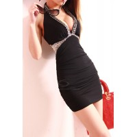Alluring Plunging Neck Halter Club Bodycon Dress For Women