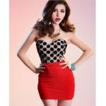Alluring Strapless Polka Dot Voile Splice Slim Fit Club Dress For Women