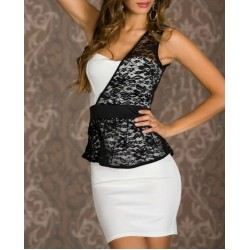 Alluring Style One-Shoulder Lace Splicing Sleeveless Bodycon Dress For Women White/BLACK