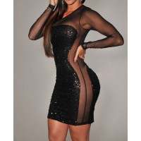 Alluring Style Round Collar See-Through Voile Splicing Sequin Embellished Black Bodycon Dress For Women