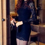 Alluring Turtle Neck Long Sleeves Back Hollow Out Bodycon Dress For Women Black