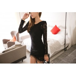 Asymmetrical Fringe Hem Packet Buttock Polyester Solid Color Dress For Women
