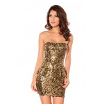Attractive Dazzling Flouncing Strapless Party Dress For Women