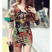 Backless Baloque Style Pattern Beam Waist Packet Buttock Cotton Blend Color Matching Dress For Women
