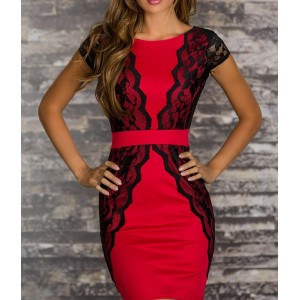 Backless Lace Embroidered Stitching Beam Waist Packet Buttock Polyester Color Matching Dress For Women