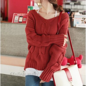 Bat-Wing Sleeves Casual Style Acrylic Solid Color V-Neck Sweater For Women