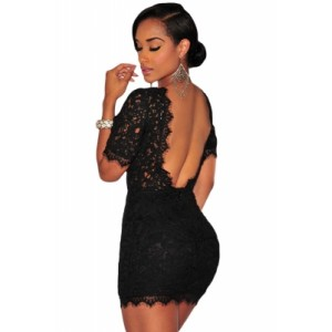 Black Crochet Lace V Back Mini Dress