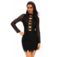 Black Long Sleeved Keyhole Back Lace Dress