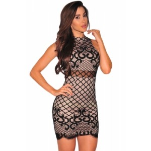 Black Nude Illusion Dreamy Lace Up Back Dress