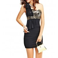 Bow Tie Sequin Embellished Flounces Beam Waist Packet Buttock Polyester Color Matching Dress For Women