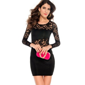 Casual Style Hollow Out Design Long Sleeve Round Collar Lace Splicing Packet Buttock Dress For Women