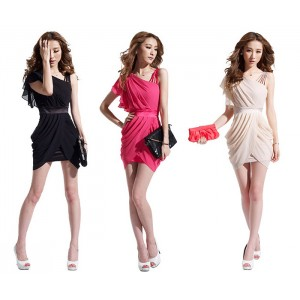 Charming One-Shoulder Ruffled and Asymmetric Hem Design Beam Waist Solid Color Women's Dress