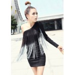 Charming Sexy One-Shoulder Tassels Embellished Slimming Fit Dress For Women