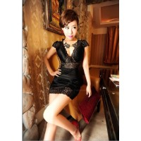 Charming Sexy V-Neck Slimming Fit Perspective Lace Party Dress For Women