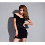 Charming V-Neck Night Club Short Sleeve Sexy Black Dress For Women Black