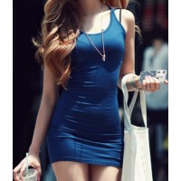 Chic Style Spaghetti Strap Criss-Cross Backless Bodycon Dress For Women