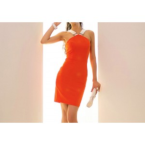 Color Block Ladylike Style Beam Waist Zipper Sleeveless Dress For Women