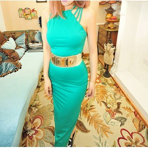 Cut Out Solid Color Club Sexy Style Polyester Sleeveless Dress For Women