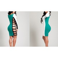 Cut Out Stitching Polyester Color Block Dress For Women