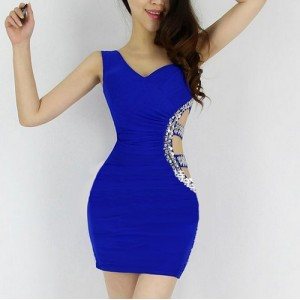 Diamonds Cut Out Sexy Style Sleeveless One-Shoulder Polyester Dress For Women