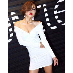 Elegant Style V-Neck Long Sleeves Solid Color Ruffle Design Slimming Fit Dress For Women