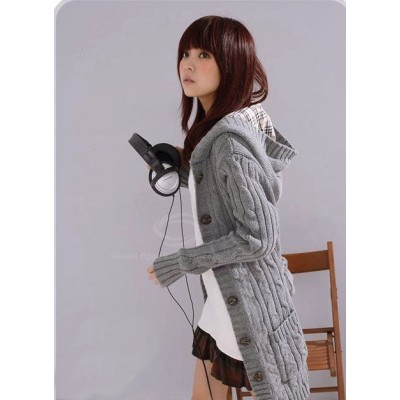Flax Patterns Acrylic Hooded Cardigan For Women