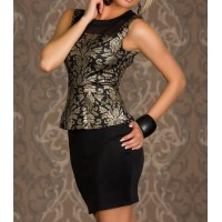 Gilded Jacquard Stitching Beam Waist Packet Buttock Flounces Polyester Color Matching Peplum Dress For Women