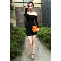 Glamour Off-The-Shoulder Bateau Neck Long Sleeve Club Dress For Women