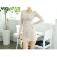 Glamour Scoop Neck Solid Color Long Sleeves Bodycon Lace Dress For Women