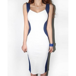 Glamour Shoulder Straps Color Block Backless Jag Sleeveless Bodycon Dress For Women blue/gray