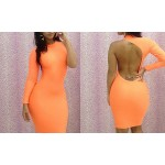 Hollow Out Backless Packet Buttock Sexy Polyester Solid Color Dress For Women
