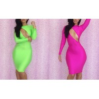 Hollow Out Off Breast Backless Polyester Solid Color Cut Out Dress For Women