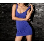 Hollow Out Stripes Backless Beam Waist Packet Buttock Cotton Solid Color Dress For Women