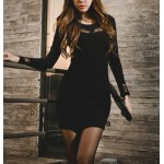 Lace Splicing Scoop Neck Long Sleeves Sexy Style Dress For Women