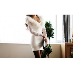 Low-Cut Fur And Lace Stitching Packet Buttock Polyester Solid Color Dress For Women