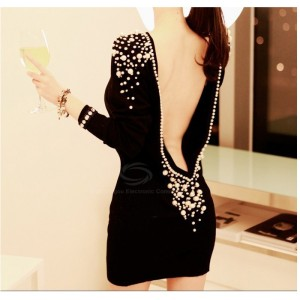 Luxury Boat Neck Faux Pearl Embellished Backless Long Sleeve Black Over Hip Club Dress For Women